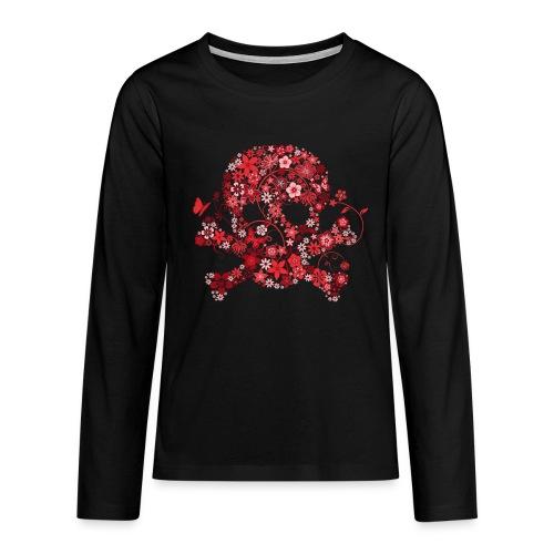 t-shirt tête de mort fleurs rouges Manches longues - T-shirt manches longues Premium Ado