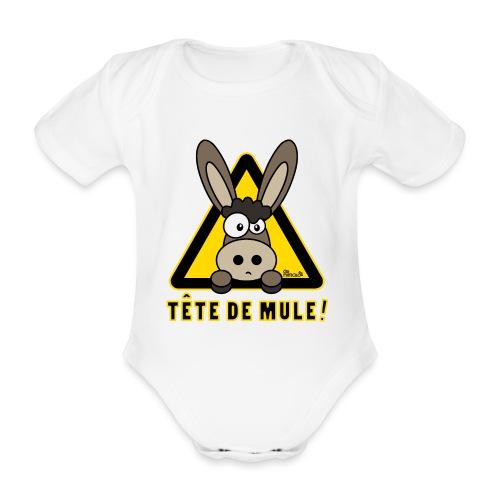 Body Bébé Âne, Tête de Mule - Body Bébé bio manches courtes