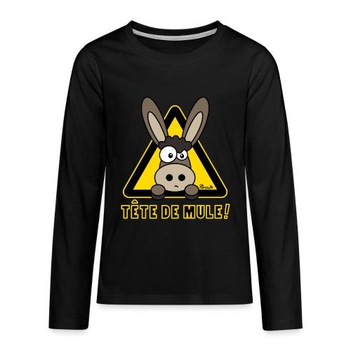 Tee shirt Ado Âne, Tête de Mule dos - T-shirt manches longues Premium Ado