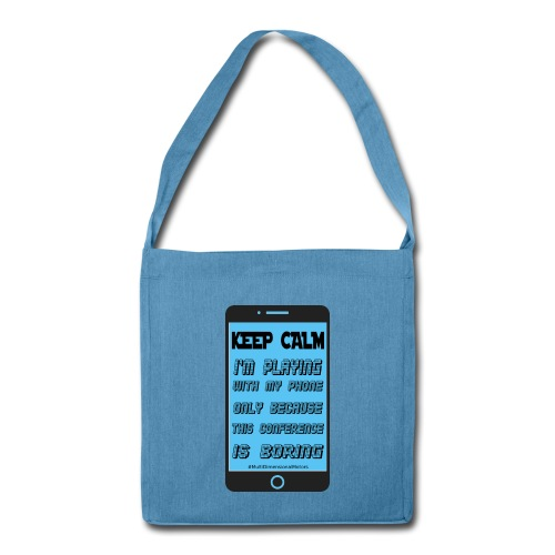 blue keep calm phone recycled bag - Borsa in materiale riciclato