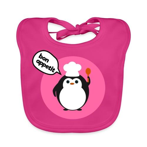 'Bon Appetit' Cute Penguin Bib (Pink) - Baby Organic Bib