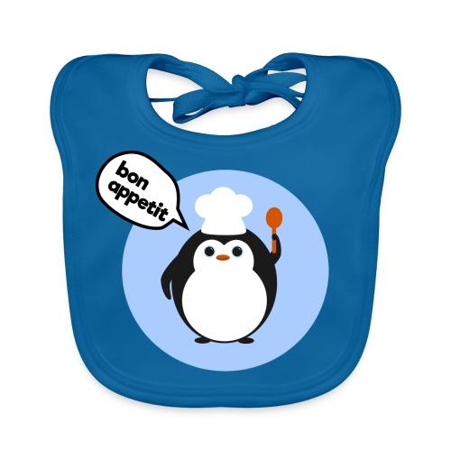 'Bon Appetit' Cute Penguin Bib (Blue) - Baby Organic Bib