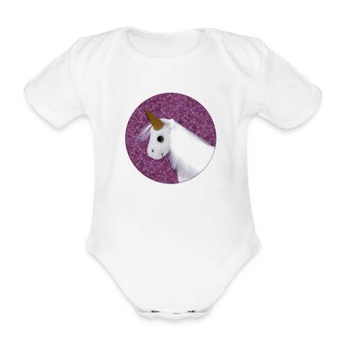 Kurzarm-Body mit Einhorn - Baby Bio-Kurzarm-Body