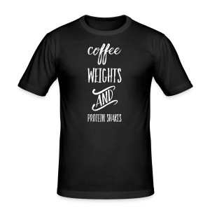 Men's 'Coffee Weights and Protein shakes' Close fitting T-Shirt - Men's Slim Fit T-Shirt