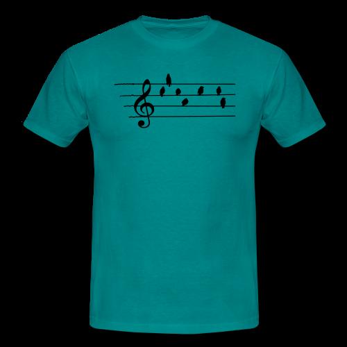 Musik T-Shirt  - Notenschlüssel - Vögel als Note - Männer T-Shirt