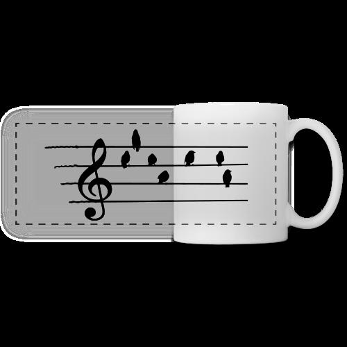 Musik T-Shirt  - Notenschlüssel - Vögel als Note - Panoramatasse