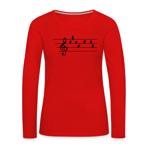 Musik T-Shirt  - Notenschlüssel - Vögel als Note - Frauen Premium Langarmshirt