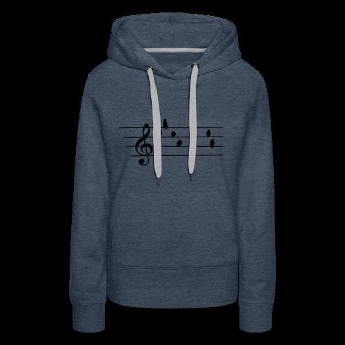 Musik T-Shirt  - Notenschlüssel - Vögel als Note - Frauen Premium Hoodie