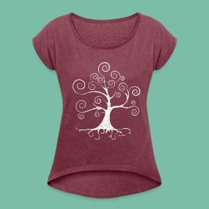 Tee shirt Femme Arbre de vie harmonie Brocéliande Spirit - T-shirt à manches retroussées Femme