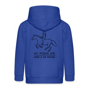 Backprint: Galloping Horse. Kids Zipper( Print: Digital Black) - Kinder Premium Kapuzenjacke