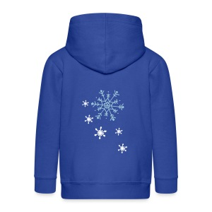 Backprint: Snowflakes, Front Togetherness, Kids Zipper( Print: Digital Light Blue  & White, Front:Reflektor ) - Kinder Premium Kapuzenjacke