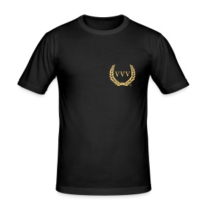 Black & Gold Team VVV (Small Logo) - Men's Slim Fit T-Shirt