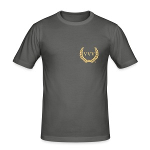 Gold & Grey Team VVV (Small Logo) - Men's Slim Fit T-Shirt