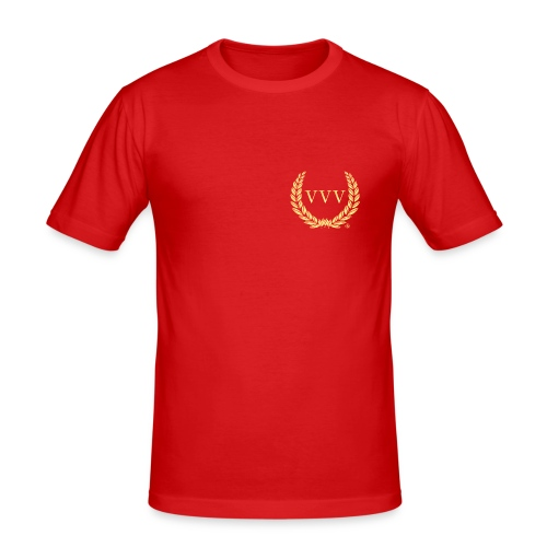 Red & Gold Team VVV (Small Logo) - Men's Slim Fit T-Shirt