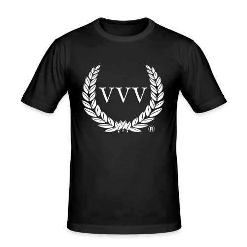 Black & White Team VVV (Large Logo) - Men's Slim Fit T-Shirt
