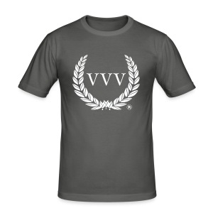 Grey & White Team VVV (Large Logo) - Men's Slim Fit T-Shirt