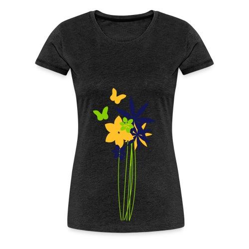 Blumenwiese mit Schmetterlingen | Gartenmotiv - Frauen Premium T-Shirt