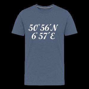 Köln Koordinaten T-Shirt (Herren Navy/Weiß) - Männer Premium T-Shirt