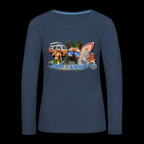 Bouledogue surf - T-shirt manches longues Premium Femme