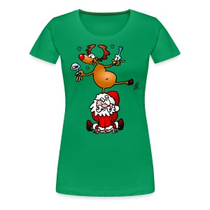 Reindeer is having a drink on Santa - Women's Premium T-Shirt