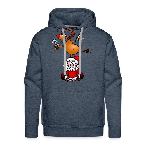 En ren med en drink på jultomten. Tröjor - Men's Premium Hoodie