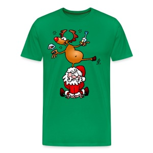 Reindeer is having a drink on Santa - Men's Premium T-Shirt