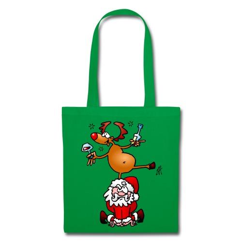 En ren med en drink på jultomten. Väskor & ryggsäckar - Tote Bag