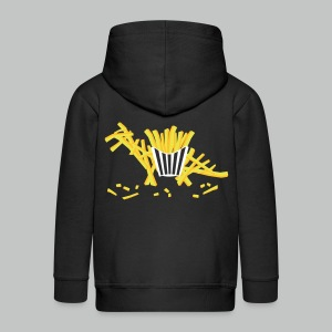 Fritosaurus - Kids' Zip Hoodie - Front & Back Design - White Basket - Orange & YellowGold L - Kids' Premium Zip Hoodie