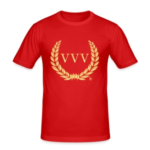 Red & Gold Team VVV (Large Logo) - Men's Slim Fit T-Shirt