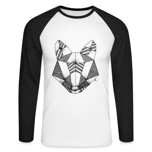"T-Shirt Homme Tête de renard origami"" - T-shirt baseball manches longues Homme"