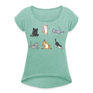 Yoga Cats - Scoop Neck Women's - Women's T-shirt with rolled up sleeves