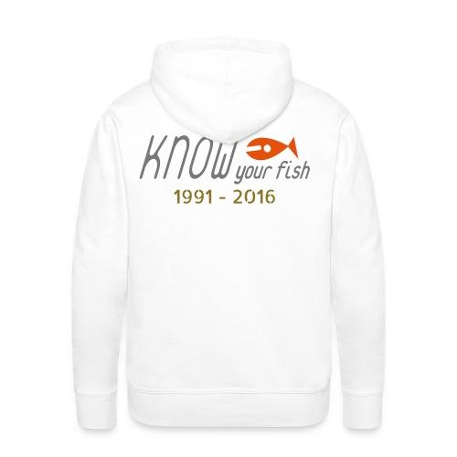 KYF Herre Hoodie (Hvid) (25 års Jubilæum) - Herre Premium hættetrøje
