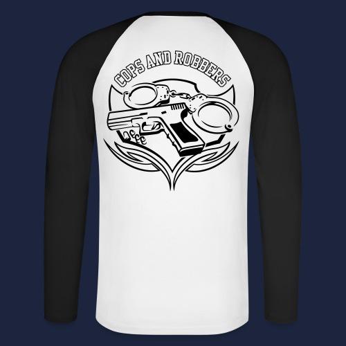 CxR Raglan with Premium Apparel large print across chest - Men's Long Sleeve Baseball T-Shirt