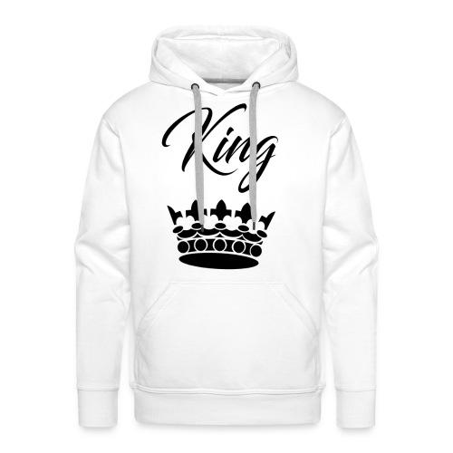T-Shirt Homme Blanc Design King Noir - Sweat-shirt à capuche Premium pour hommes