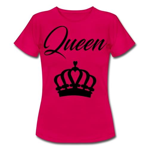 T-Shirt Femme rose Design Queen Noir - T-shirt Femme