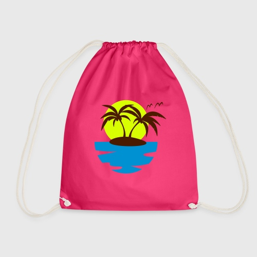 Tropical Island Drawstring Bag - Drawstring Bag