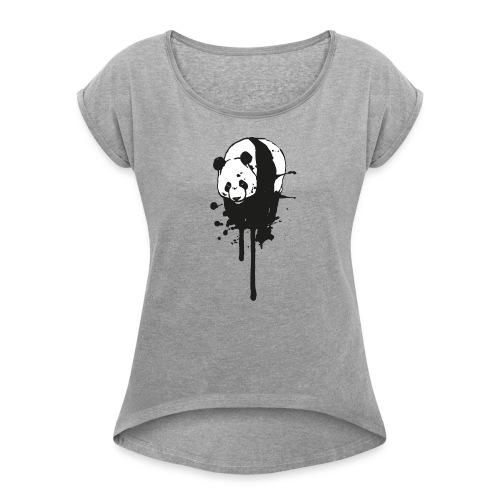 T-Shirt Ink-Panda / girls - Frauen T-Shirt mit gerollten Ärmeln