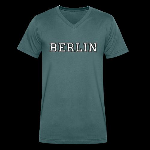 Berlin Vintage (Schwarz/Weiß) V-Neck T-Shirt - Männer Bio-T-Shirt mit V-Ausschnitt von Stanley & Stella
