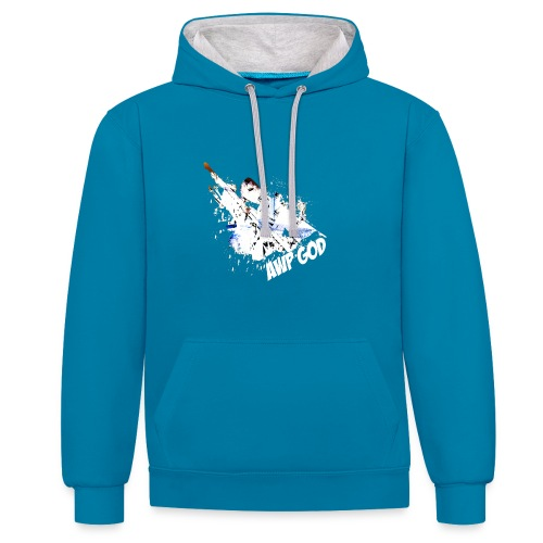 Contrast Colour Hoodie : peacock blue/heather grey - Contrast Colour Hoodie