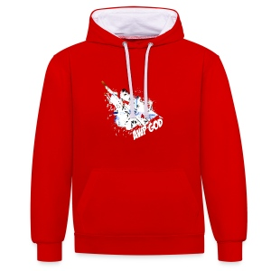 Contrast Colour Hoodie : red/white - Contrast Colour Hoodie