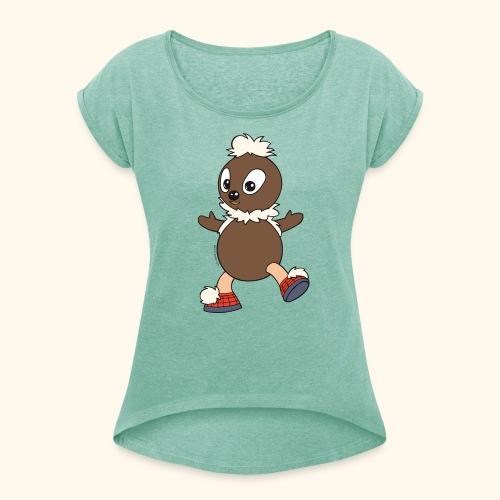 Frauen T-Shirt mit gerollten Ärmeln Pittiplatsch tanzt - Frauen T-Shirt mit gerollten Ärmeln