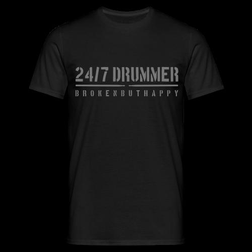 24/7 Drummer - Männer T-Shirt - Schwarz - Männer T-Shirt