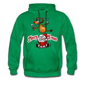 Merry X-mas from Santa Claus and his reindeer - Men's Premium Hoodie