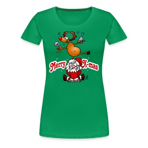 Merry X-mas from Santa Claus and his reindeer - Women's Premium T-Shirt