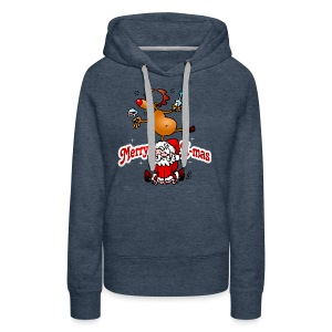 Merry X-mas from Santa Claus and his reindeer - Women's Premium Hoodie