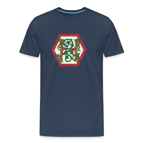 Premium T-skjorte for menn - Motiv foran, tekst bak