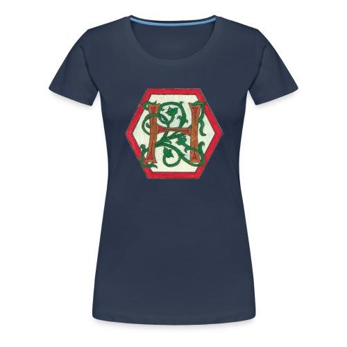 Premium T-skjorte for kvinner - motiv foran, tekst bak