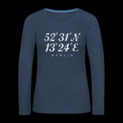 Berlin Koordinaten (Vintage/Weiß) Langarmshirt - Frauen Premium Langarmshirt