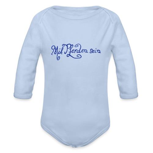 Schnörkelschrift MPS  Baby- Langarmbody ( Print: Blue) - Baby Bio-Langarm-Body