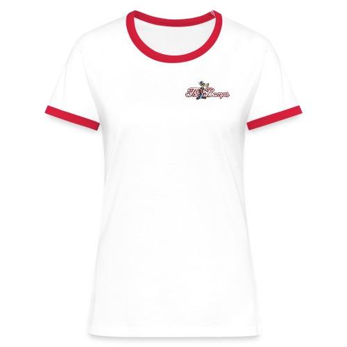 T-Shirt Vit/Röd Dam - Kontrast-T-shirt dam